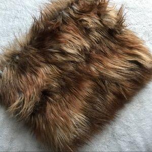 ASOS Faux Fur Funnel Snood Scarf Cowl Brown